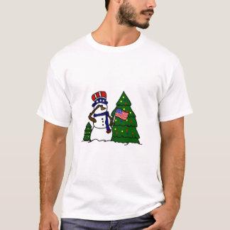 Patriotic Christmas Snowman T-Shirt