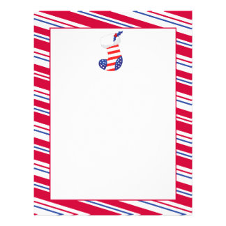 Patriotic Christmas Stocking Letterhead Design