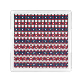 Patriotic Christmas Sweater Pattern Acrylic Tray