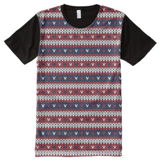 Patriotic Christmas Sweater Pattern All-Over-Print T-Shirt