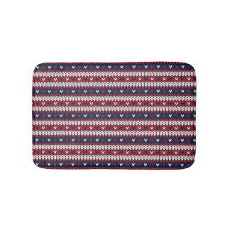 Patriotic Christmas Sweater Pattern Bath Mat