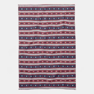Patriotic Christmas Sweater Pattern Kitchen Towel