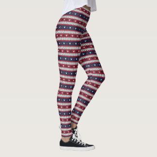 Patriotic Christmas Sweater Pattern Leggings
