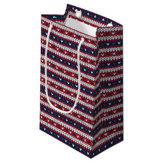 Patriotic Christmas Sweater Pattern Small Gift Bag