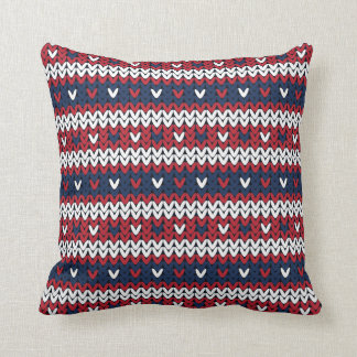 Patriotic Christmas Sweater Pattern Throw Pillow