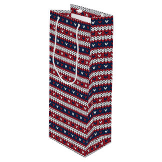 Patriotic Christmas Sweater Pattern Wine Gift Bag