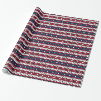 Patriotic Christmas Sweater Pattern Wrapping Paper