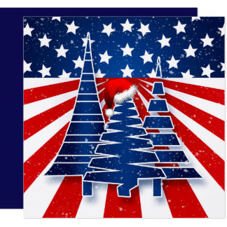 Patriotic Christmas Trees Family Holiday Message Card