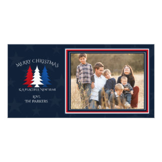 Patriotic Christmas Trees Navy Blue Photo Card
