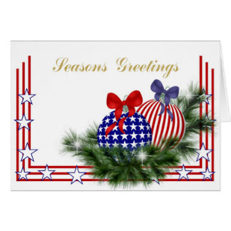 Patriotic Christmas with Ornaments Card