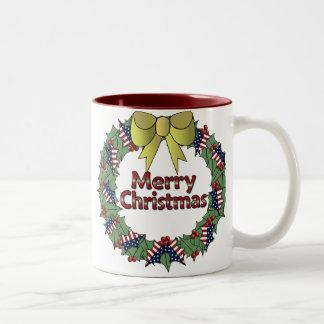 Patriotic Christmas Wreath Two-Tone Coffee Mug