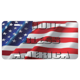 Patriotic Classic and powerful God Bless America License Plate