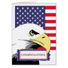 Patriotic Congratulations, Eagle and American Flag Card