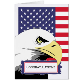Patriotic Congratulations, Eagle and American Flag Card
