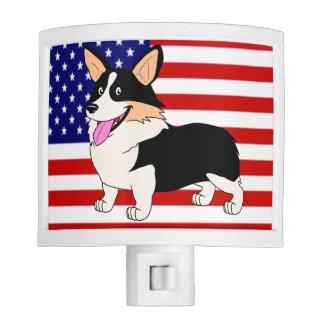 Patriotic Corgi with Flag Nite Light