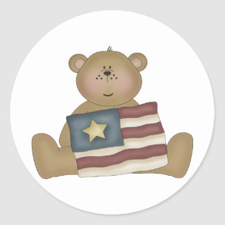 Patriotic Country Teddy Bear Classic Round Sticker