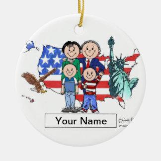 Patriotic Couple - Two Boys Ceramic Ornament