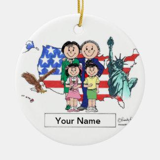 Patriotic Couple - Two Girls Ceramic Ornament