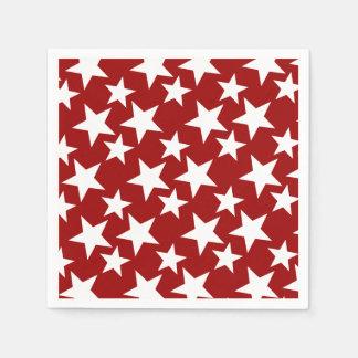 Patriotic Crimson Red w White Stars Paper Napkin