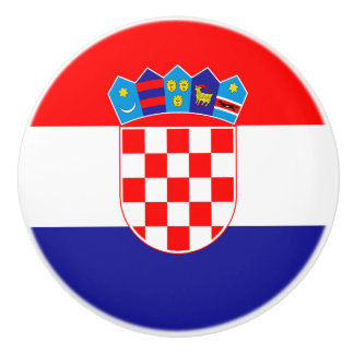 Patriotic Croatian Flag Ceramic Knob