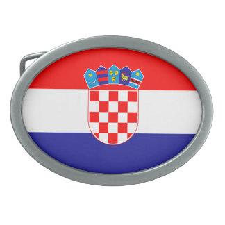 Patriotic Croatian Flag Oval Belt Buckle