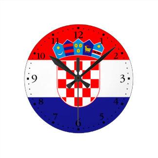 Patriotic Croatian Flag Round Clock