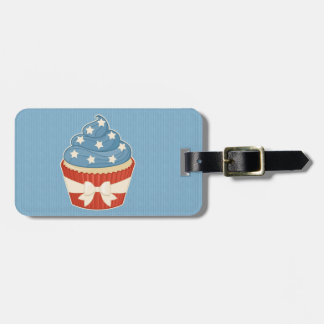 Patriotic Cupcake on Blue Stripes Tags For Luggage