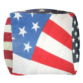 Patriotic Custom Polyester Cubed Pouf
