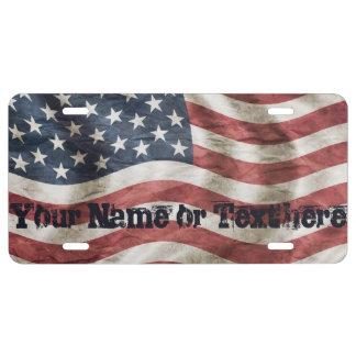 Patriotic Custom Vintage American Flag License Plate