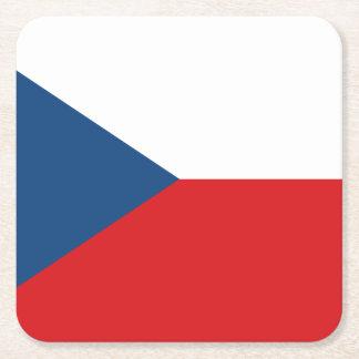 Patriotic Czech Republic Flag Square Paper Coaster
