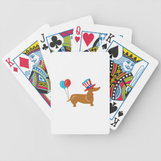 Patriotic Dachshund Bicycle Playing Cards