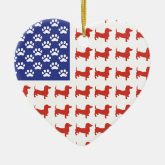 Patriotic Dachshund Doxie Ceramic Ornament