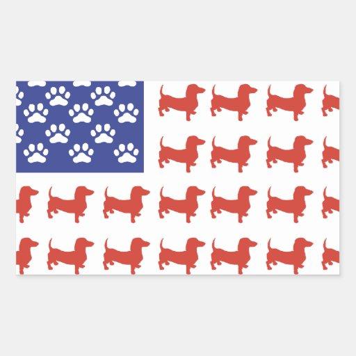 Patriotic Dachshund Doxie Rectangular Stickers
