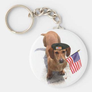 Patriotic dachshund keychain