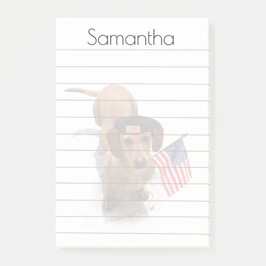 Patriotic Dachshund post it notes pad