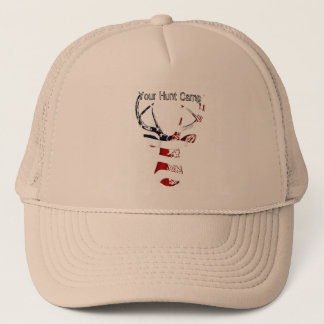 Patriotic Deer Head Mount Hunt Camp Hat