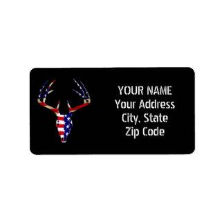 Patriotic Deer Hunting skull Label