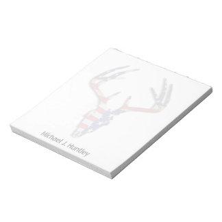 Patriotic Deer Hunting skull Notepad
