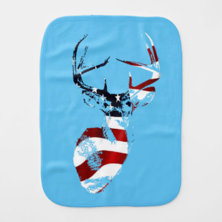 Patriotic Deer Mount Baby Apparel Burp Cloth