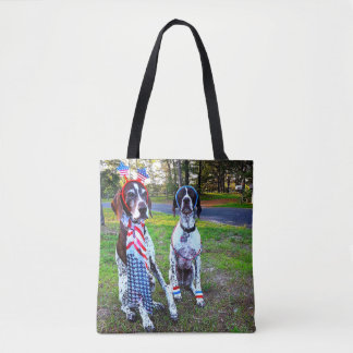Patriotic Dogs & Fireworks All-Over-Print Tote Bag