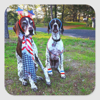 Patriotic Dogs Holiday Celebration Square Stickers