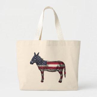 Patriotic Donkey Large Tote Bag
