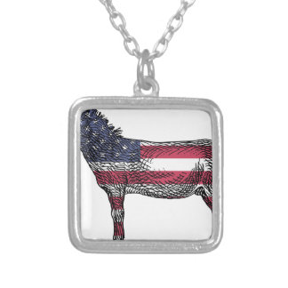 Patriotic Donkey Silver Plated Necklace
