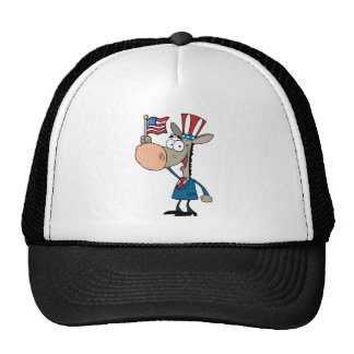 Patriotic Donkey Waving An American Flag Trucker Hat