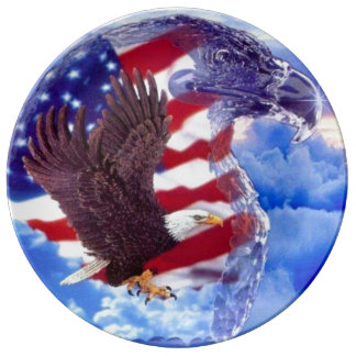 Patriotic Eagle and Ice sculpture Porcelain Plate