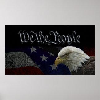 Patriotic Eagle & Flag Poster