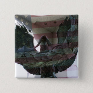Patriotic Eagle with Flag 2 Inch Square Button