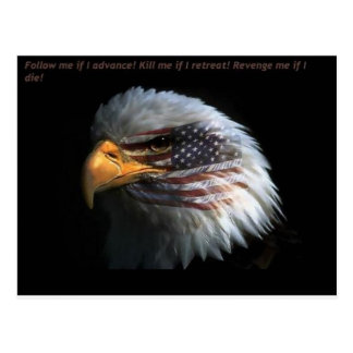 Patriotic Eagle with flag background Postcard