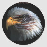 Patriotic Eagle with flag background Stickers