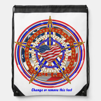 Patriotic Election Runner Fundraiser View Hints Drawstring Backpack